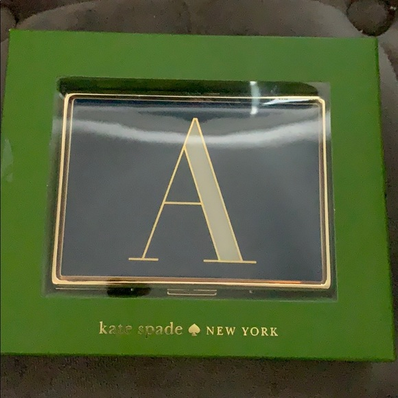 """New In Box Kate Spade """"A"""" Monogram card case"""